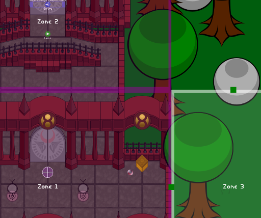 World maps can be divided into zones. The camera and most entities stay within their current zone. Entities outside of the active zone either go dormant or get destroyed. The player can transition between zones by touching adjacent borders.